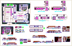 Plan, elevation & distribution plan, sectional view for school dwg file
