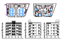 Plan and elevation design drawing of Flat design