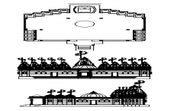 Plan and elevation design drawing of Jain derasar temple