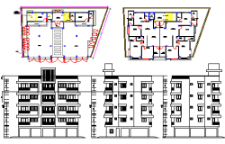 Plan and elevation design drawing of apartment design drawing