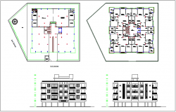 Plan and elevation design view for apartment design view dwg file
