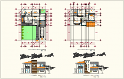 Plan and elevation design view of house dwg file