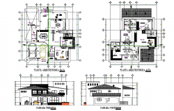 Plan and elevation home plan detail dwg file