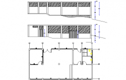 Plan and elevation house plan detail dwg file