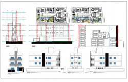 Plan and elevation of Hotel with ground plus two floors  dwg file