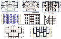 Plan and elevation of apartment building dwg file
