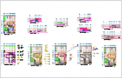 Plan and elevation of bank dwg file