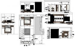 Plan and elevation of bedroom interior 2d view cad block layout file in autocad format