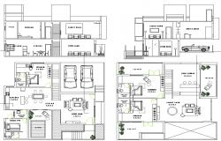Plan and elevation of bungalows dwg file