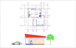 Plan and elevation of cabin house architectural view dwg file