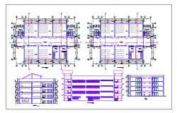 Plan and elevation of collage dwg file