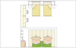 Plan and elevation of double bed with furniture view dwg file