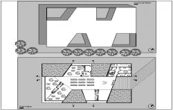 Plan and elevation of kinder garden dwg file