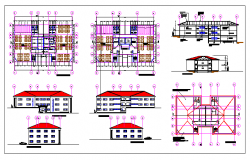 Plan and elevation of library dwg file
