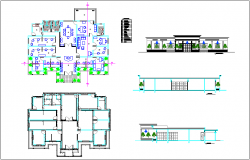 Plan and elevation of municipal palace government building dwg file