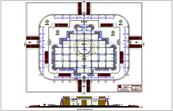Plan and elevation of museum dwg file