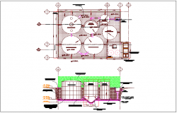 Plan and elevation of treatment plant for process work dwg file
