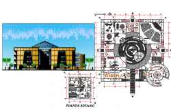 Plan and elevation of university library dwg file