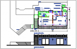Plan and elevation plan detail view dwg file