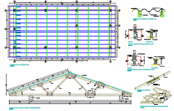 Plan and elevation roof working plan detail dwg file