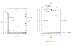 Plan and elevation tank detail autocad file