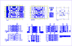 Plan and elevation view of government building view with door and window view dwg file