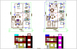 Plan and elevation view of house design view dwg file