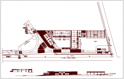 Plan and elevation view of logistic office view dwg file