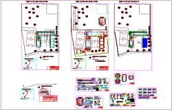 Plan and elevation view of school with structural detail dwg file