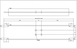 Plan and elevation view of single part beam view dwg file