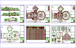Plan and elevation view of university with library plan and elevation view dwg file