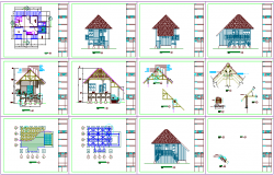 Plan and elevation view of wooden house with wooden struts detail view dwg file