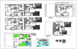 Plan and elevation view with electrical and floor pattern view for house dwg file
