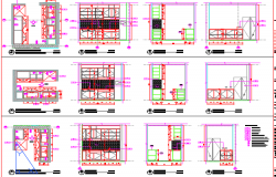Plan and elevations of a kitchen