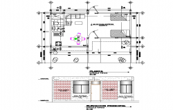 Plan and section basic module of individual housing detail dwg file