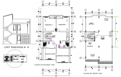 Plan and section house plan autocad file