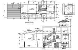 Plan and section single family home plan layout file