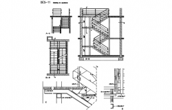 Plan and section stair detail dwg file