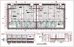 Plan and section view for toilet area dwg file