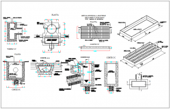 Plan and section view of mechanical machine dwg file
