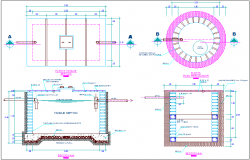 Plan and section view of school with tank and piping view dwg file