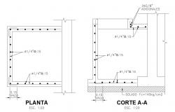 Plan and section view with pipe position for valve house dwg file