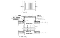 Plan and sectional detail of a structure 2d view layout file in dwg format