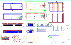 Plan design  of school with view of sanitary,column view and hydraulic view with line diagram dwg file