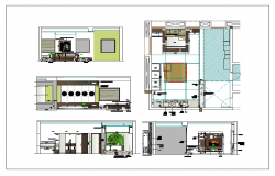 Plan layout of master bed room dwg file