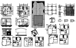 Plan of  2 storey house 8.00mtr x 8.20mtr with elevation and section in dwg file