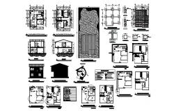 Plan of 2 storey house 8.00mtr x 8.20mtr with detail dimension in dwg file