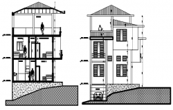 Plan of 2 storey house with elevation and section in dwg file