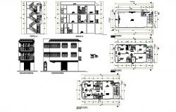 Plan of 3 storey residential house 13.40mtr x 5.00mtr with section and elevation in dwg file