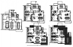 Plan of Apartment 14.75mtr x 12.80mtr with furniture details in AutoCAD